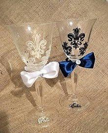 Nádoby - Svadobné poháre s kráľovským vzorom - 9493771_