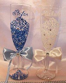 Nádoby - Svadobné poháre šampus Farebné - 9493856_