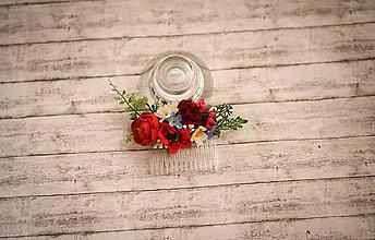 Ozdoby do vlasov - Folk kvetinový hrebienok do vlasov - 9495030_
