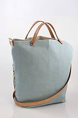 Kabelky - Veľká dámska vzorovaná tyrkysovošedá kabelka z ľanu
