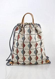 Batohy - Veľký štýlový batoh z exkluzívnej ľanovej látky