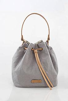 Kabelky - Šedý elegantný batôžtek z nepremokavého francúzskeho ľanu eb860c27562