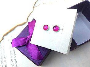 Náušnice - Strieborné naušnice ag925 s fialovými kameňmi - 9492858_