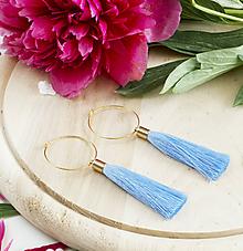 Náušnice - Zlaté kruhové náušnice s modrým strapčekom - 9494954_