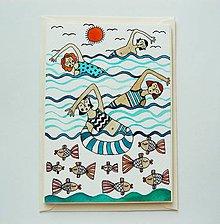 Papiernictvo - pohľadnica - plavci - 9491937_