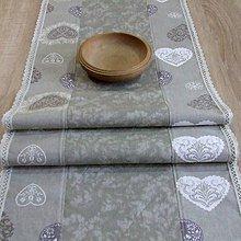 Úžitkový textil - Romantické srdiečka s mramorom(1) - stredový obrus  (145 cm x 40 cm) - 9493934_