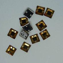 Iný materiál - Našívacie kamienky štvorce hnedo-oranžové 8x8mm - 9494682_
