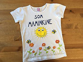 """Tričká - Mamkodcérovské maľované duo tričiek (Detské tričko s nápisom """"Som maminkine"""") - 9494658_"""
