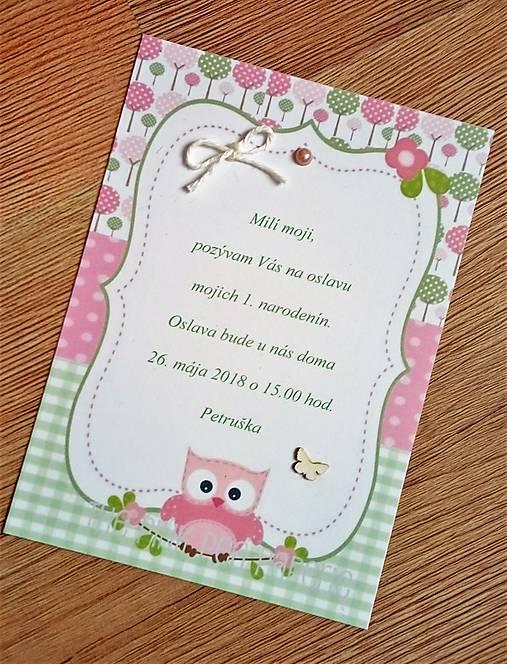 pozvanie na oslavu narodenín - dievčatko