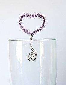 Dekorácie - ozdoba na pohár - modré srdiečko (Fialová) - 9492153_