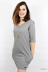 Šaty - Dámske šaty s vreckami šedé z úpletu M14 IO6 - 9492285_