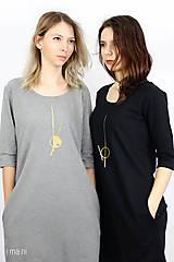 Šaty - Dámske šaty s vreckami šedé z úpletu IO6 - 9492286_