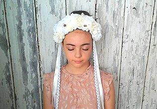 Ozdoby do vlasov - Svadobná parta -krém a šľahačka - 9497003_