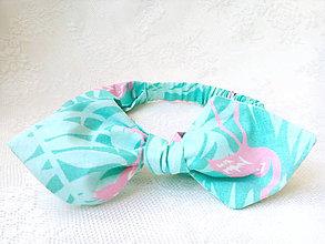 Ozdoby do vlasov - Pin Up headband (green/pink flamingos) - 9498076_