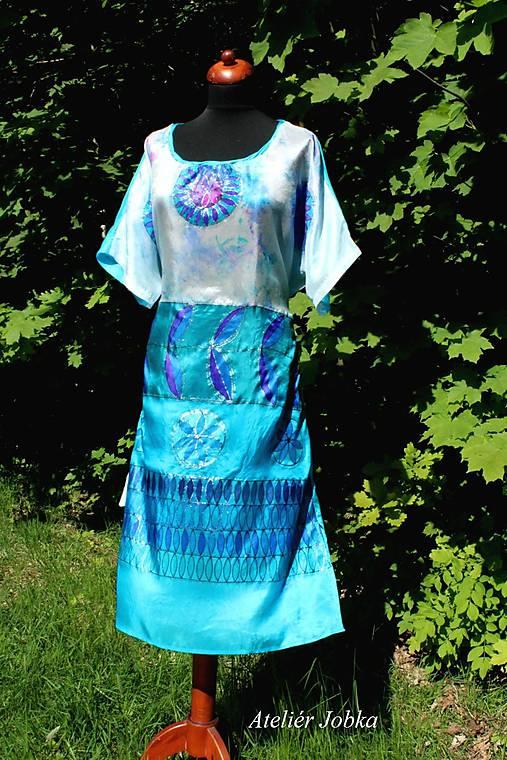 Hedvábné plážové šaty Slunečnice tyrkys a azuro   jobka - SAShE.sk ... dcfca70536