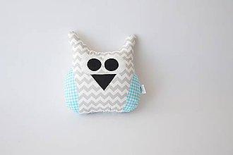 Textil - Vankúšik sovička sivý chevron + mentolová - 9496603_
