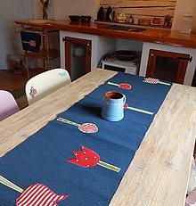 Úžitkový textil - Štóla / obrus - Modrá s tulipánmi - 9497002_