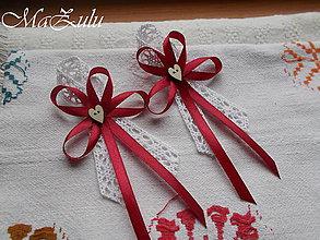 Pierka - Vintage bordo svadobné pierko - 9497082_