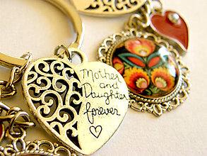 Kľúčenky - folk den matiek - cierny kvet - mama a dcera - 9497274_