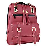 Praktický módny ruksak z prírodnej kože v bordovej farbe