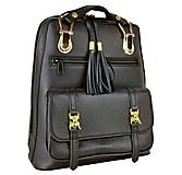 Módny praktický ruksak z prírodnej kože v čiernej farbe