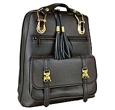 Batohy - Módny praktický ruksak z prírodnej kože v čiernej farbe - 9497627_