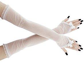 Rukavice - Rukavice svadobné bielé tylové 053 - 9498700_