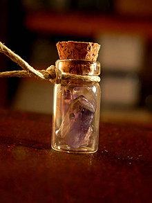 Náhrdelníky - Ametyst - náhrdelník (béžový) - 9496054_