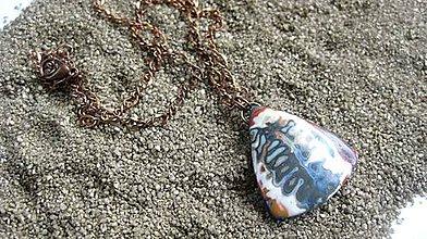 Náhrdelníky - Mokume trojuholník - náhrdelník Originál, č. 2046 - 9496561_