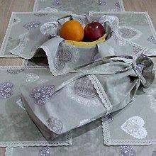 Úžitkový textil - Romantické srdiečka s mramorom - vrecko na chlieb - 9495655_