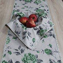 Úžitkový textil - Zeleno sivá na režnej - obrus obdĺžnik 95x40 - 9498503_