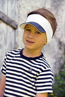 Detské čiapky - Čelenka so šiltom Sporty -dvojfarebná- 21 odtieňov - 9498949_
