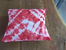 Úžitkový textil - Červený batikovaný vankúš - 9498360_