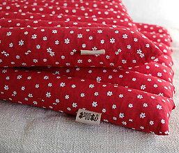 Úžitkový textil - FILKI sedák plnený šupkami (červená s kvietkami) - 9495223_