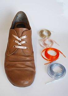 Obuv - Šnúrky do topánok - saténové, š. 7 mm - jednostranný satén (oranžová) - 9497186_