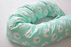 - Tehotenský vankúš / Vankúš na dojčenie mentolový so sloníkmi - 9501323_