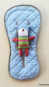 Textil - MERINO podložka do kočíka BUGABOO Bee / Buffalo/ Cameleon/ Donkey/ Joolz 100% WOOL Seat Liner Blue and Grey - 9500200_
