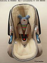 Textil - MERINO podložka do kočíka BUGABOO Bee / Buffalo/ Cameleon/ Donkey/ Joolz 100% WOOL Seat Liner Blue and Grey - 9500214_