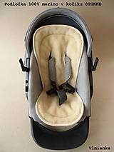 Textil - MERINO podložka do kočíka BUGABOO Bee / Buffalo/ Cameleon/ Donkey/ Joolz 100% WOOL Seat Liner Blue and Grey - 9500222_