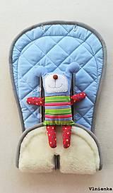 Textil - MERINO podložka do kočíka BUGABOO Bee / Buffalo/ Cameleon/ Donkey/ Joolz 100% WOOL Seat Liner Blue and Grey - 9500224_