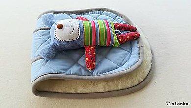 Textil - MERINO podložka do kočíka BUGABOO Bee / Buffalo/ Cameleon/ Donkey/ Joolz 100% WOOL Seat Liner Blue and Grey - 9500199_