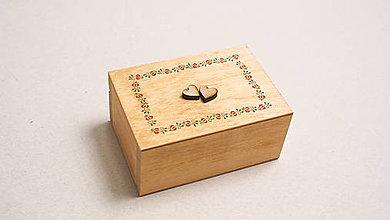 Prstene - Drevená krabička na prstienky Folk - 9500097_