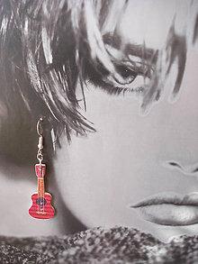 Náušnice - Náušničky gitarky v červenom (Červená) - 9499543_