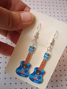 Náušnice - Náušničky gitarky v červenom (Modrá) - 9499544_