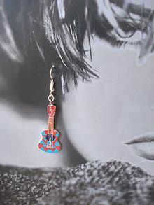 Náušnice - Náušničky gitarky v červenom (Pestrofarebná) - 9499572_