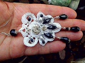 Náušnice - čipkové  náušnice - Ivory + čierna - 9500054_