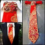 Iné doplnky - Madam Red-hodvábna maľovaná a vyšívaná dámska kravata - 9503042_