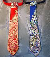 Iné doplnky - Madam Red-hodvábna maľovaná a vyšívaná dámska kravata - 9503043_