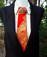 Iné doplnky - Madam Red-hodvábna maľovaná a vyšívaná dámska kravata - 9503051_