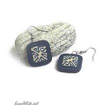 Náušnice - Modré náušnice s ornamentom - 9500404_
